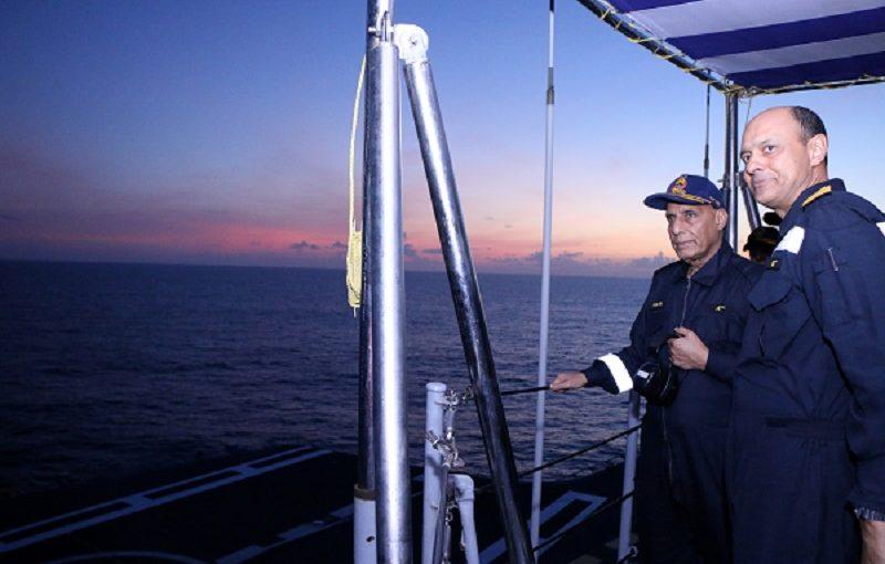 "Raksha Mantri Shri Rajnath Singh witnesses prowess and fire power of Western Fleet during ""day at sea"" onboard INS Vikramaditya"