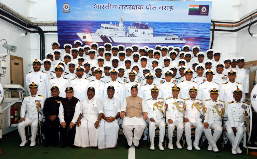 Raksha Mantri Shri Rajnath Singh commissions Indian Coast Guard Ship 'Varaha'; To further strengthen coastal security
