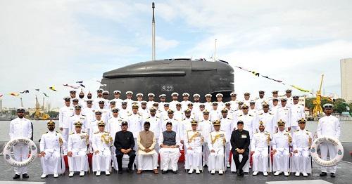 Raksha Mantri Shri Rajnath Singh commissions indigenously built submarine INS Khanderi