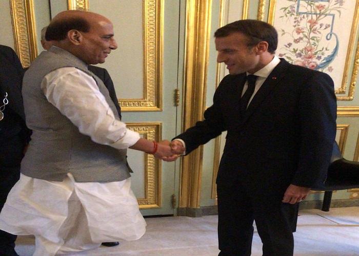 Raksha Mantri Shri Rajnath Singh holds talks with President of French Republic, Mr Emmanuel Macron in Paris