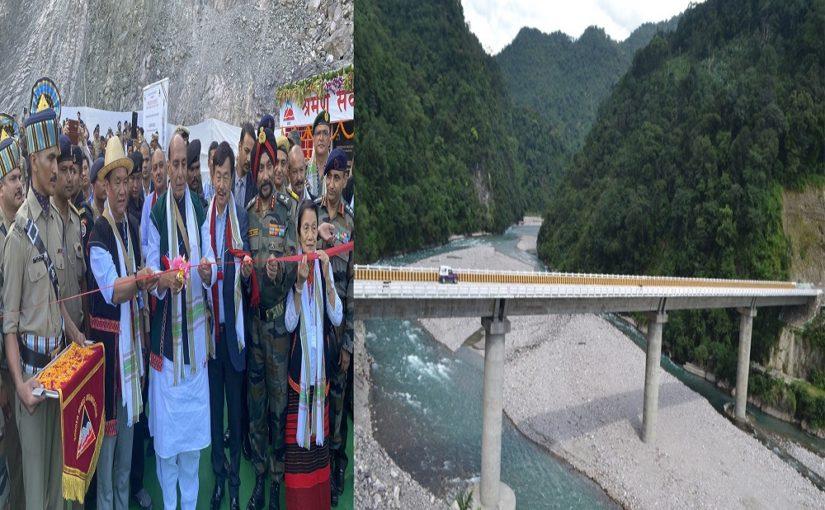 रक्षा मंत्री श्री राजनाथ सिंह ने अरूणाचल प्रदेश में दिबांग घाटी को सियांग से जोड़ने वाले सिसेरी पुल का उद्घाटन किया