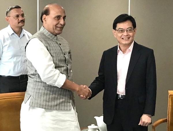 Raksha Mantri Shri Rajnath Singh meets Deputy Prime Minister of Singapore Mr Heng Swee Keat in Singapore
