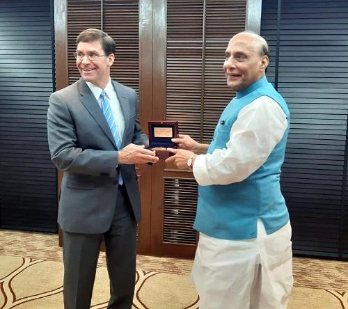Raksha Mantri Shri Rajnath Singh meets US Secretary of Defence Dr Mark T Esper on the sidelines of ADMM-Plus in Bangkok