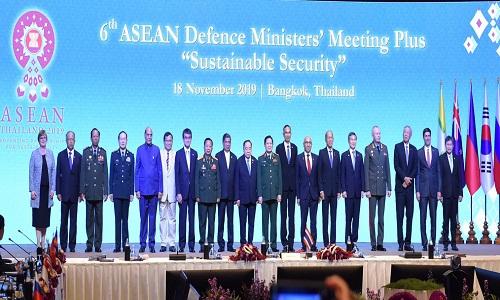 Raksha Mantri Shri Rajnath Singh urges international community to eliminate scourge of terrorism in his address at ASEAN Defence Ministers' Meeting Plus in Bangkok