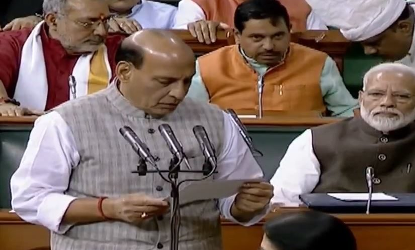 Raksha Mantri Shri Rajnath Singh takes oath as a member of the 17th Lok Sabha.