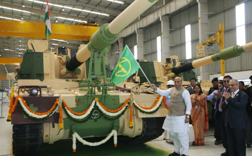 Raksha Mantri Shri Rajnath Singh flags off 51st K9 VAJRA-T Gun from L&T Armoured System Complex in Gujarat