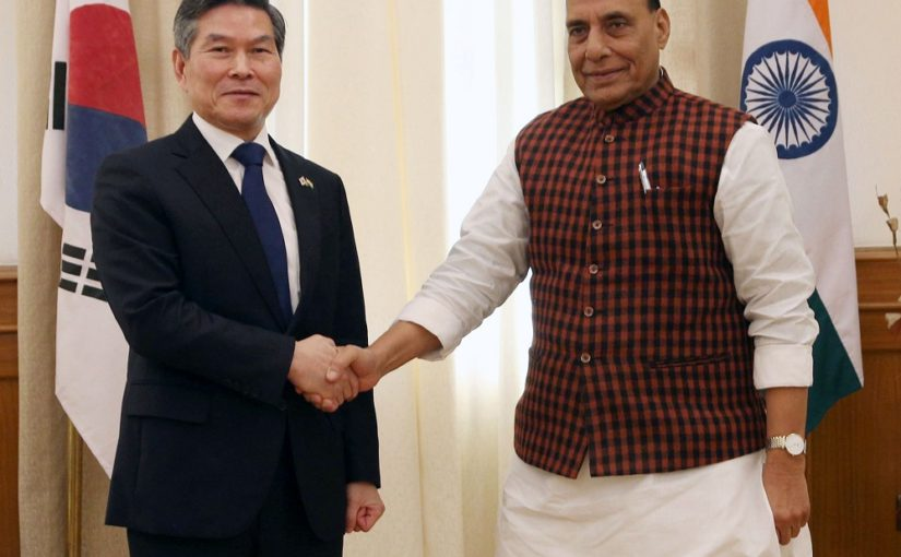 Raksha Mantri Shri Rajnath Singh & South Korea's Minister of National Defence Mr. Jeong Kyeongdoo discuss ways to enhance bilateral security cooperation