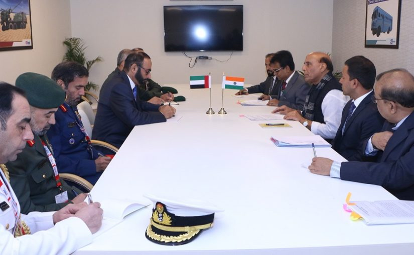 Raksha Mantri Shri Rajnath Singh begins first day of DeExpo 2020 by holding meetings with his counterparts from UAE, UK, Maldives, Kyrgyzstan and Oman