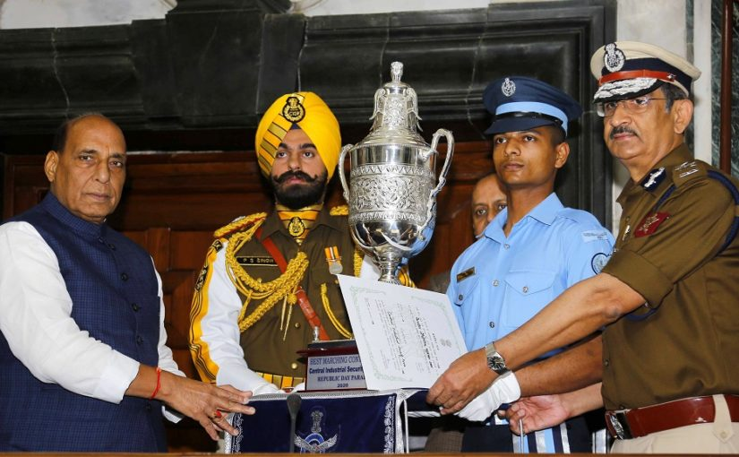 Raksha Mantri Shri Rajnath Singh presents trophies of best marching contingents for Republic Day Parade 2020