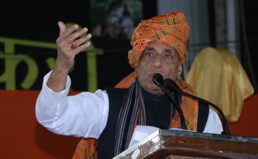 RM Shri Rajnath Singh addresses public meeting in Mehrauli, Delhi.