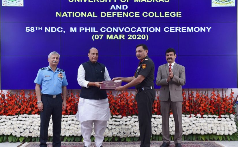 Raksha Mantri Shri Rajnath Singh gives away degrees to 60 graduates of 58th NDC Course