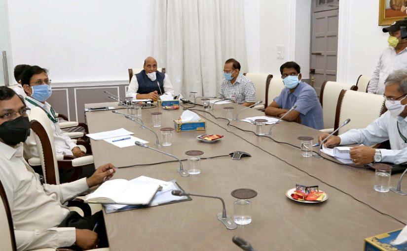 Raksha Mantri Shri Rajnath Singh reviews contribution of DPSUs and OFB to mitigate COVID-19 and their operational plans post lock-down