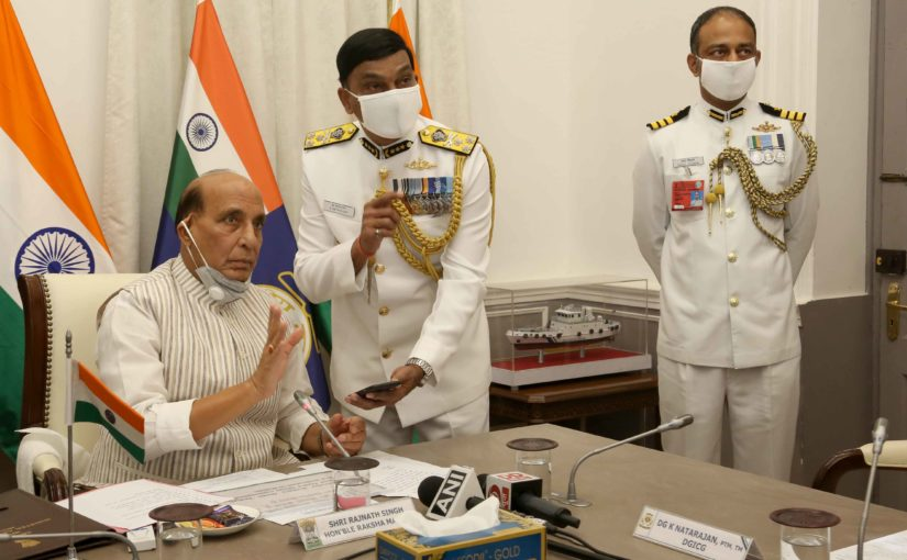 Raksha Mantri Shri Rajnath Singh commissions Indian Coast Guard Ship 'Sachet' and two interceptor boats