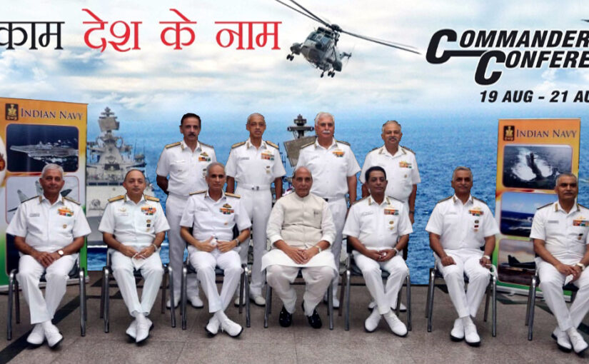 Raksha Mantri Shri Rajnath Singh asks Naval Commanders to deliberate on key focus areas;
