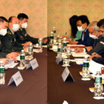 The Union Minister for Defence, Shri Rajnath Singh in a meeting with his Chinese counterpart General Wei Fenghe on the sidelines of the Joint Meeting of the Heads of Defence Ministers of Shanghai Cooperation Organisation (SCO), Commonwealth of Independent States (CIS) and Collective Security Treaty Organisation (CSTO) members countries, in Moscow on September 04, 2020.