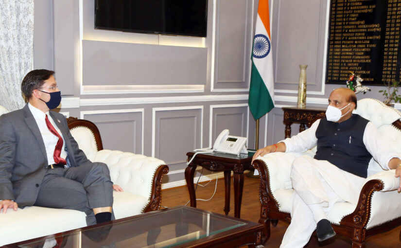 Raksha Mantri Shri Rajnath Singh holds bilateral delegation-level meeting with his US counterpart Mark Esper