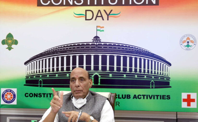 The Union Minister for Defence, Shri Rajnath Singh inaugurates a month-long nationwide Constitution Day Youth Club activities programme, organised by the NCC, through video conferencing, in New Delhi on November 18, 2020.