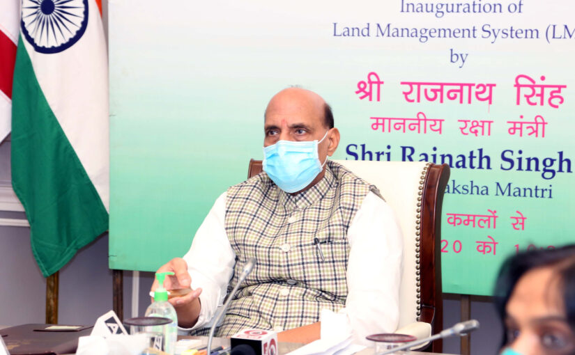 The Union Minister for Defence, Shri Rajnath Singh inaugurates the Land Management System software of MoD, in New Delhi on November 19, 2020.