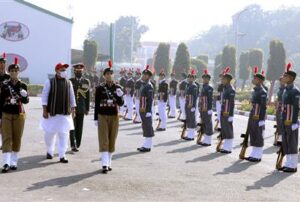 The Union Minister for Defence, Shri Rajnath Singh inspecting the Guard of Honour at the Republic Day NCC Camp 2021, at Delhi Cantt., in New Delhi on January 21, 2021.