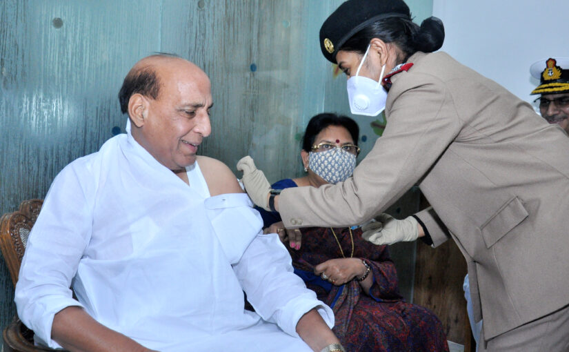 RM Shri Rajnath Singh gets his first dose of the COVID vaccine